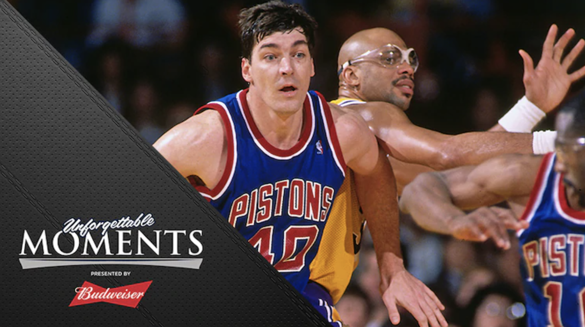 The '88 Finals.   A turned ankle + a questionable whistle cost the Pistons a shot at another title.  @Keith_Langlois explains in Unforgettable Moments presented by @budweiserusa: https://t.co/oEuKL13PeD https://t.co/T5BzPgctIn