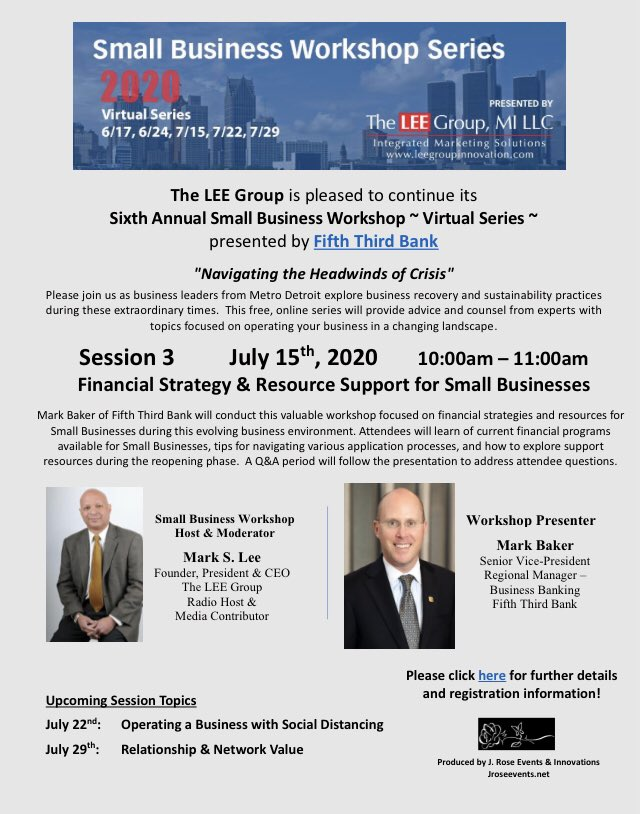 Next online workshop is Wednesday, 7/15, 10 am, presented by @FifthThird #FinancialStrategies for your #business @tannerfriedman @ComcastMI @detroitpublictv @amblackjournal @dontanner @CindyFletcherSF   Register for this free event here:   https://t.co/WHXhOLN8cB https://t.co/ZaXitWAzGV