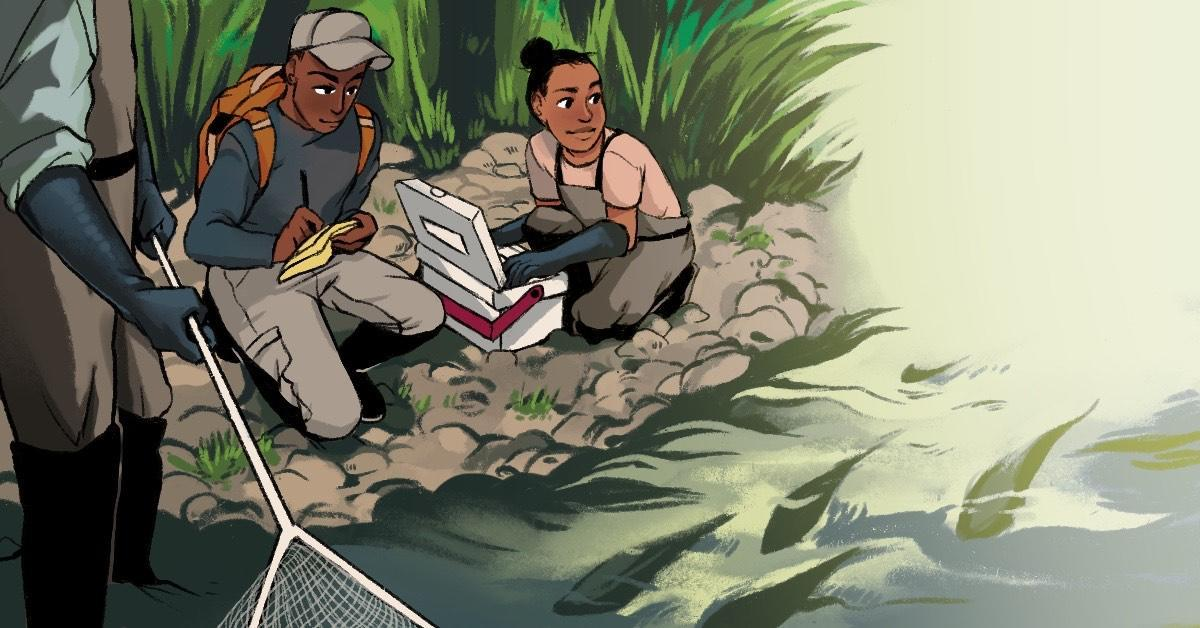 """Today at noon CDT, join us for fish tales!! @kassthefish @wildlifegirl09 and more will discuss """"#BlackInNature: Academia, Conservation, and Careers."""" Watch and ask questions via Facebook live: https://t.co/3FqGDlQjlN (Artwork via @BeMoodieArt) https://t.co/lawmUQQAX0"""