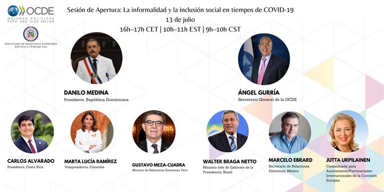 #LACministerial 🗓️13 de julio 16:00-18:30 CEST  Únete a @DaniloMedina @A_Gurria @CarlosAlvQ @mluciaramirez @GMeza_Cuadra @m_ebrard @JuttaUrpilainen & Walter Braga Netto para discutir cómo avanzar la #InclusiónSocial en la región tras el #COVID19.   ➡️https://t.co/4jEl3Yoe3A https://t.co/jmZXnSZfe6