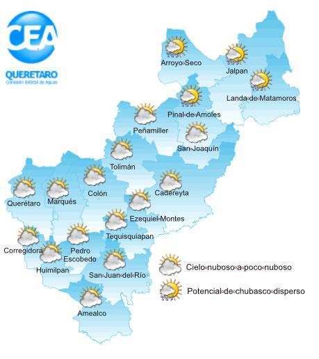 #ParaHoy Se esperan temperaturas(Min-Max) #ZonaMetropolitana 13-28; #ZonaSur 13-27; #ZonaCentro 13-27; #SierraGorda 19-32; #PartesAltas 11-22°C, vientos max 25Km/h. #LluviaQro ligera @gobqro @poesqro @cea_qro @peseguridadqro @CEPCQueretaro @SSalud_Qro @SEGOB_Queretaro @CAPTA_Qro https://t.co/x2DcDr2liU