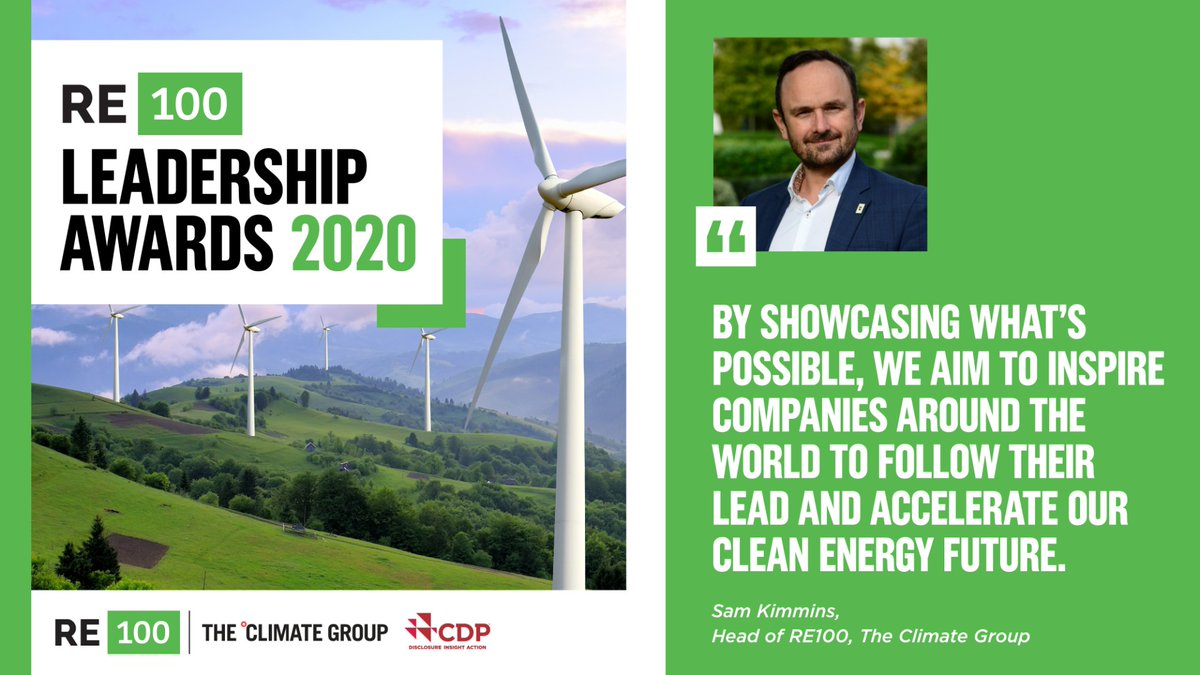 We are excited to share our fantastic judging panel for the #RE100 Leadership Awards 2020 in partnership with @CDP. Member companies have a week to enter and demonstrate their clean energy leadership across six categories. Dont miss out! theclimategroup.org/news/re100-lea… @ClimateGroup