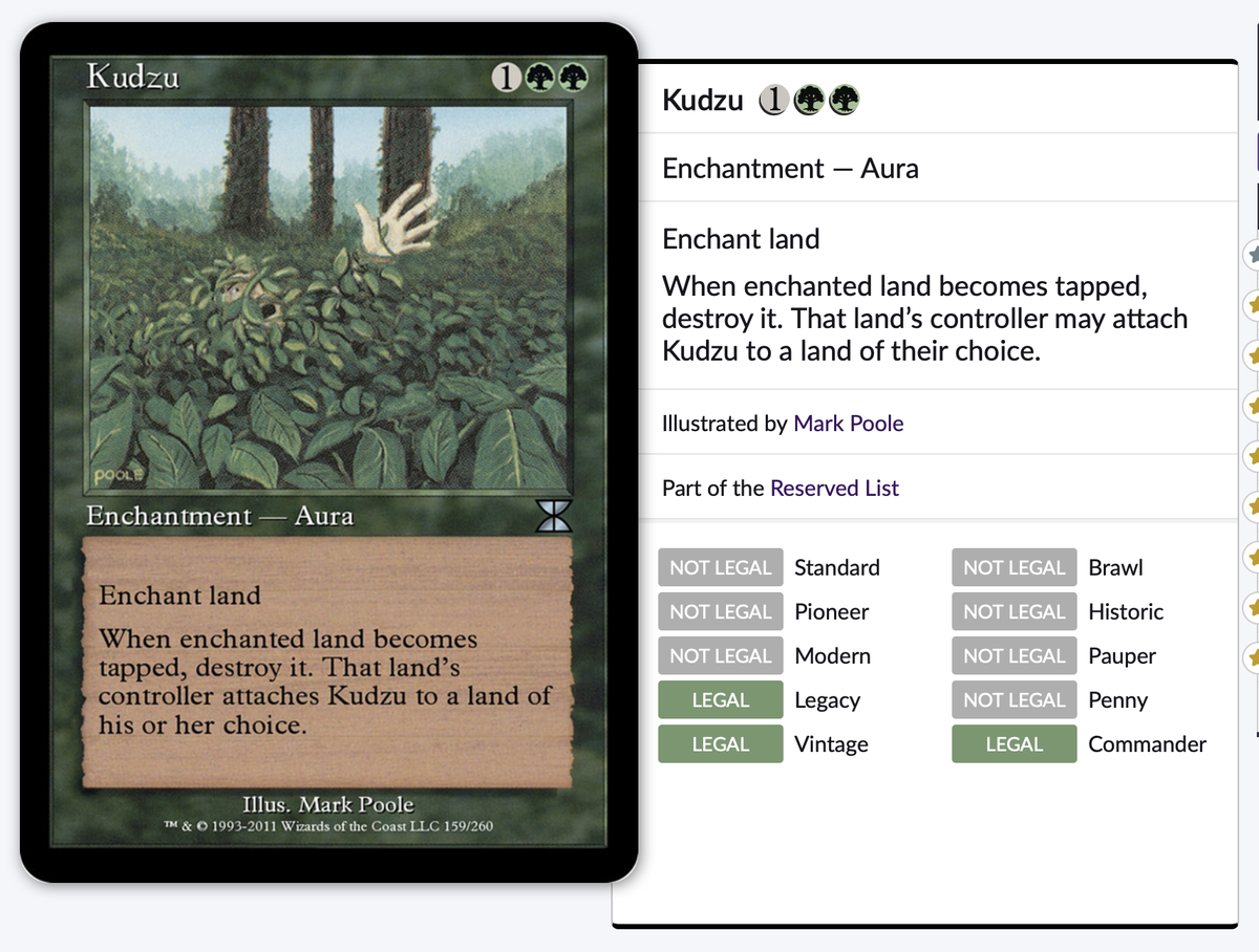 test Twitter Media - After seeing the insane price of Gilded Drake I started digging through the Reserved List and found Kudzu. According to @edhrec  this card does not see play but it seems like a perfect fit in a Titania deck.    Price Stamp 07/10/20: $1.49 (for tracking purposes)  #EDH #CMDR #MTG https://t.co/ZqQ7T0pIFx