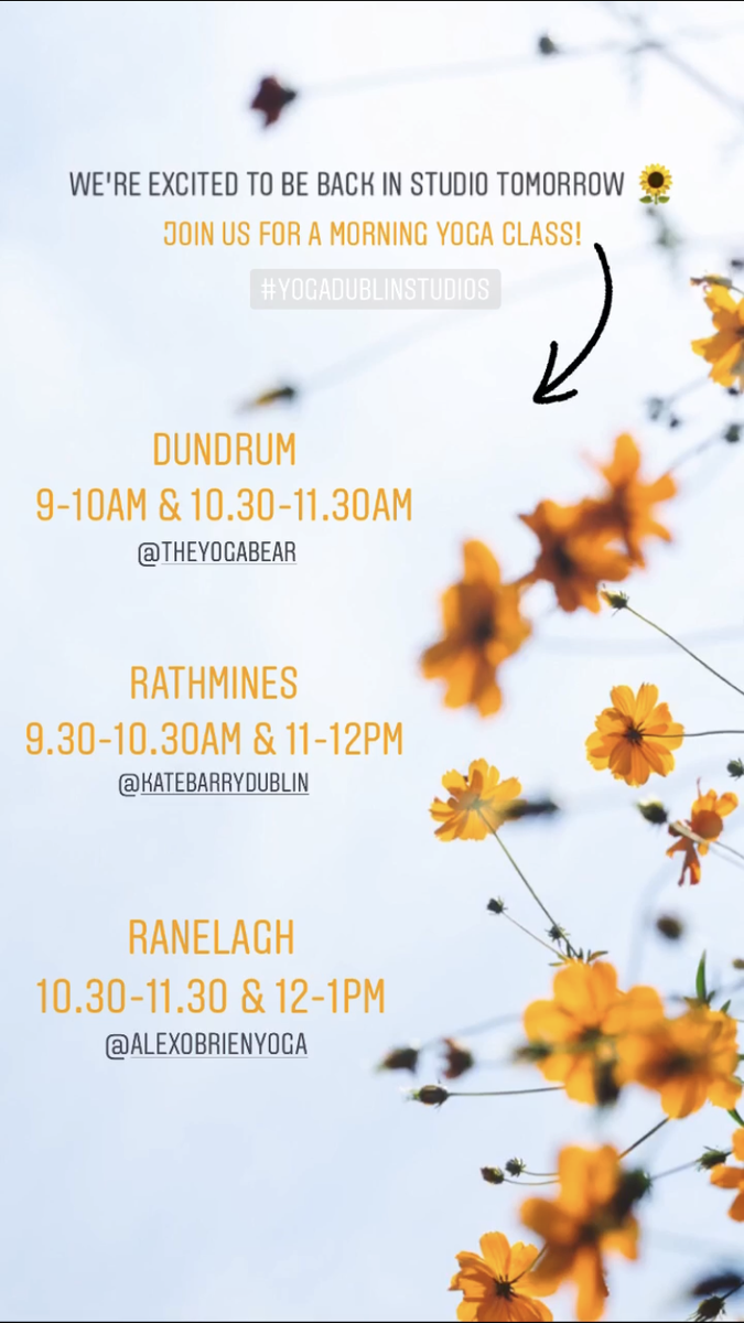 We can't wait to be back in-studio again tomorrow! 😄Who's joining us? Check out our studio schedule..  #yogadublinstudios #ranelagh #rathmines #dundrum #yoga #weekendvibes https://t.co/oscluYdAp3