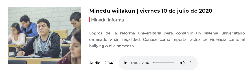 📣 Escucha el microinformativo #MineduWillakun, en donde hablamos sobre los logros de la #ReformaUniversitaria, cuyo objetivo es construir un sistema universitario ordenado y sin ilegalidad. Haz clic aquí 👉 https://t.co/Idjzu4flkF #AprendoEnCasa https://t.co/dtGrWwmgh4