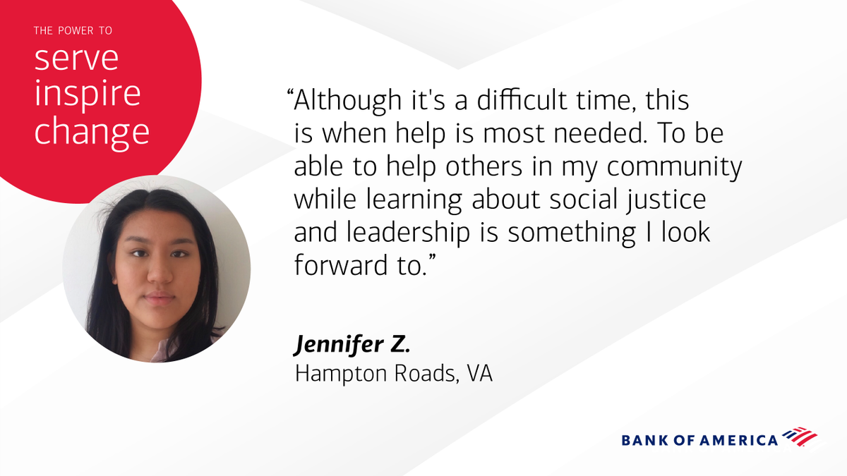 This years class of #BofAStudentLeaders is filled with rising stars like Jennifer, who are empathetic, driven and ready to take initiative in their communities. bit.ly/2AK8Ez3
