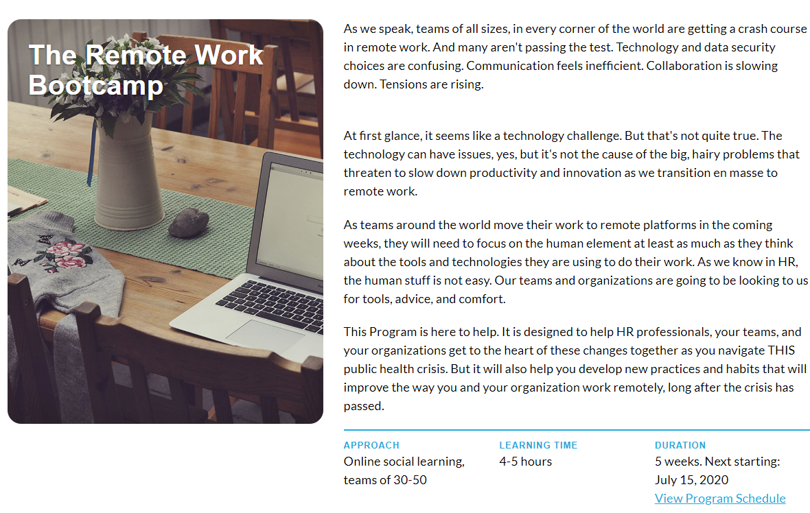The @BersinAcademy  Remote Work Bootcamp starts on July 15 (next week) - join more than 1000 of your HR peers to study and learn about the real tools, rules, norms, and secrets to remote work!  https://t.co/9lVByk2lbA https://t.co/qKMu6qHsPh
