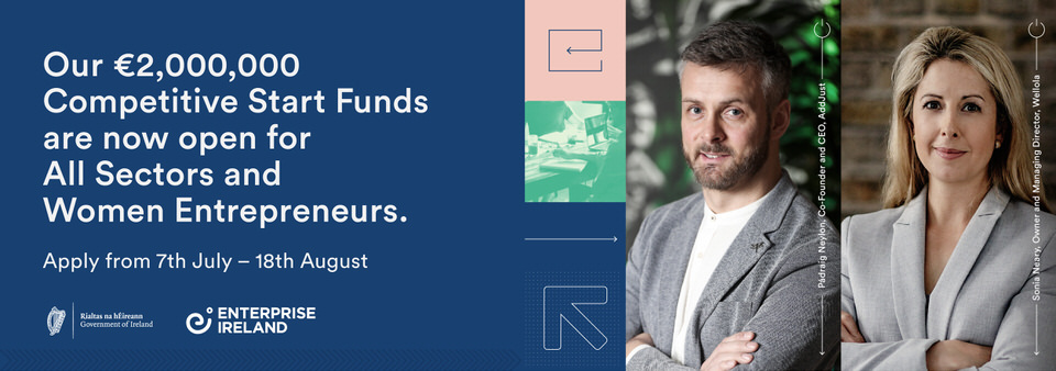 Competitive Start Fund #CSF open. €50k #funding available per successful application. Supports early stage #start-ups in #Manufacturing, Internationally Traded Services. See also sub-sectors, further information, how to apply. Closes 18/08. @Entire https://t.co/sYXAdS4EKQ https://t.co/PvgX8zJ3fu