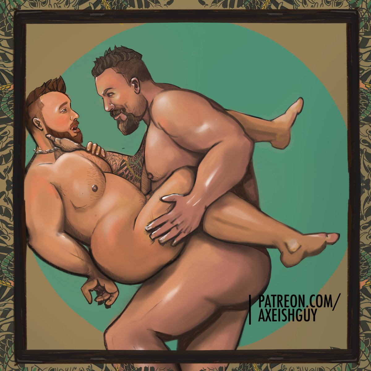 Oh daddy. Breath taken away :) Comissioned art More content at patreon.com/Axeishguy #gay #gayart #dom #daddy #homoerotic #gaybears #nakedmen #bara #gaylove #kinky #horny #fetish