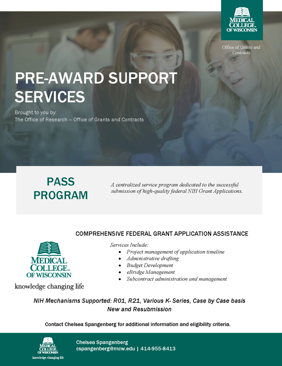 Are you looking to submit an R03 @NIHgrants application? The PASS (Pre-Award Submission Support) Program has expanded its offerings to cover this mechanism. Reach out to GCO Analyst Chelsea Spangenberg (cspangenberg@mcw.edu) for more info! #PASSProgram https://t.co/dEwEhFOJwd