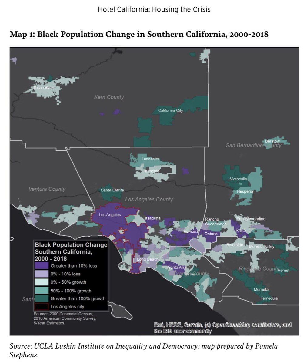 """This map (p. 12), by Pamela Stephens, of the banishment of Black communities, illuminates the stakes of our @ChallengeIneq report, """"Hotel California: Housing the Crisis."""" COvID-19 is yet another conjuncture in the forced removals of people of color: bit.ly/2CiLP5Z"""