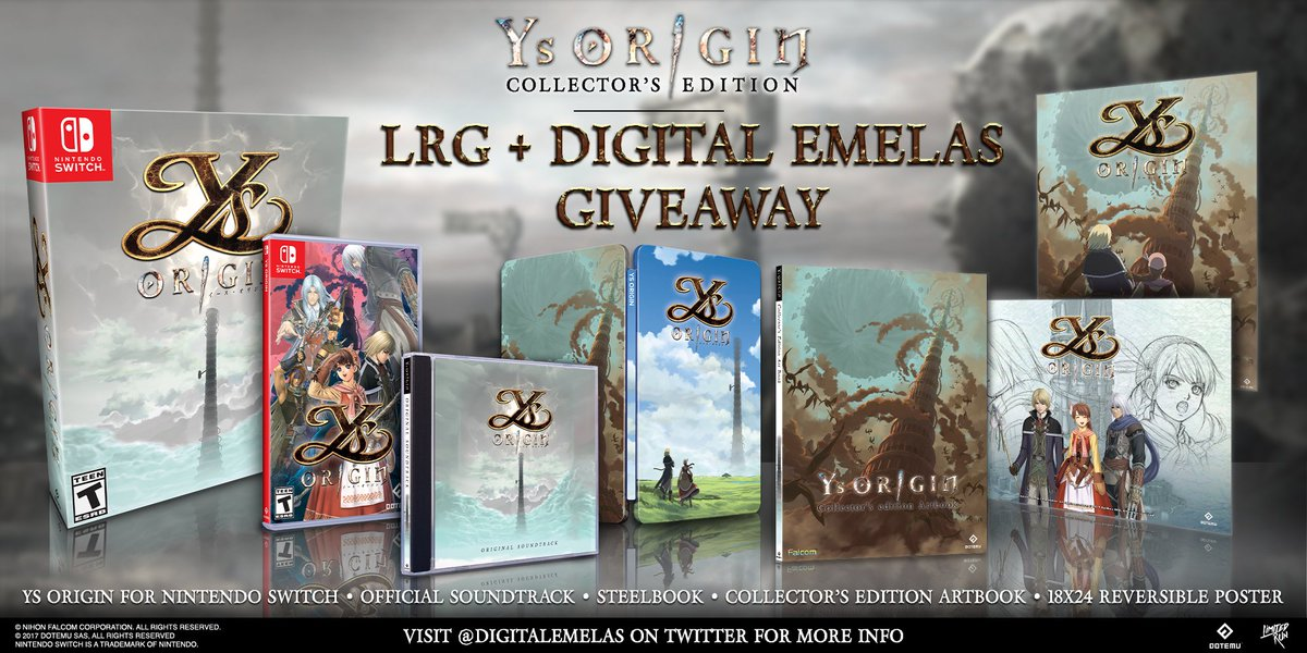 #Giveaway time! We're partnering with LRG to give away an #Ys Origin CE for #NintendoSwitch. Follow both @DigitalEmelas + @LimitedRunGames & Retweet by Jul 13, 8pm EST.  is the ultimate Ys resource introducing new players & spreading awareness outside Japan
