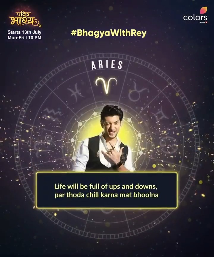 Rey ke paas hai sabka horoscope! 😎 Check out what's in your horoscope with #BhagyaWithRey  Watch #PavitraBhagya, starting from 13th July, every Mon-Fri at 10 PM, only on #Colors. Anytime on @justvoot   @KUNAL_JAISINGH @aneri_vajani #RivaArora