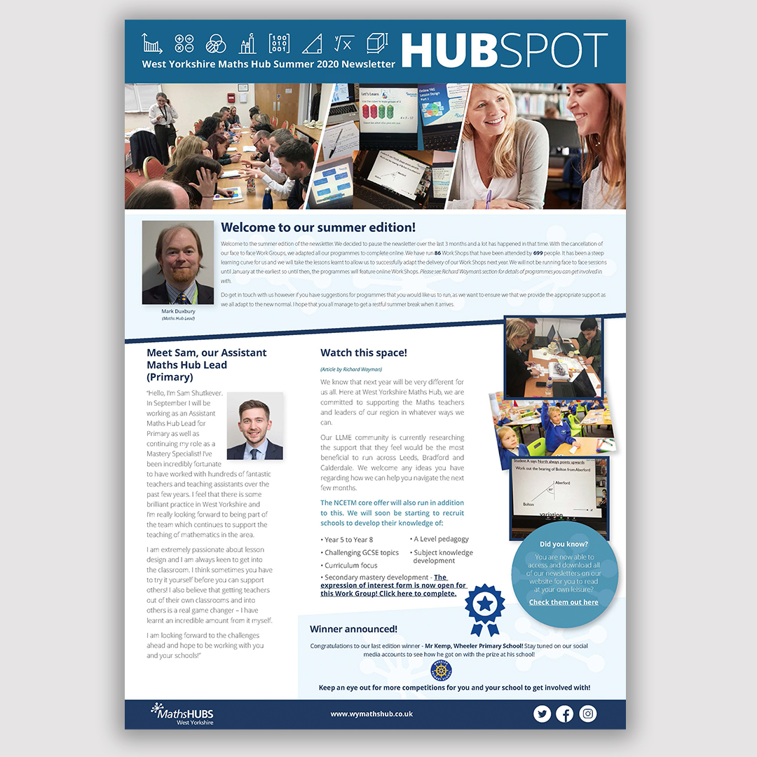 Our summer newsletter has been released! Packed with the success of our webinars, the future of WYMH, a message from @Trinityteach and much more! Click here to read: https://t.co/qimfsuUNjD  #WestYorkshire #MathsHub #FridayFeeling
