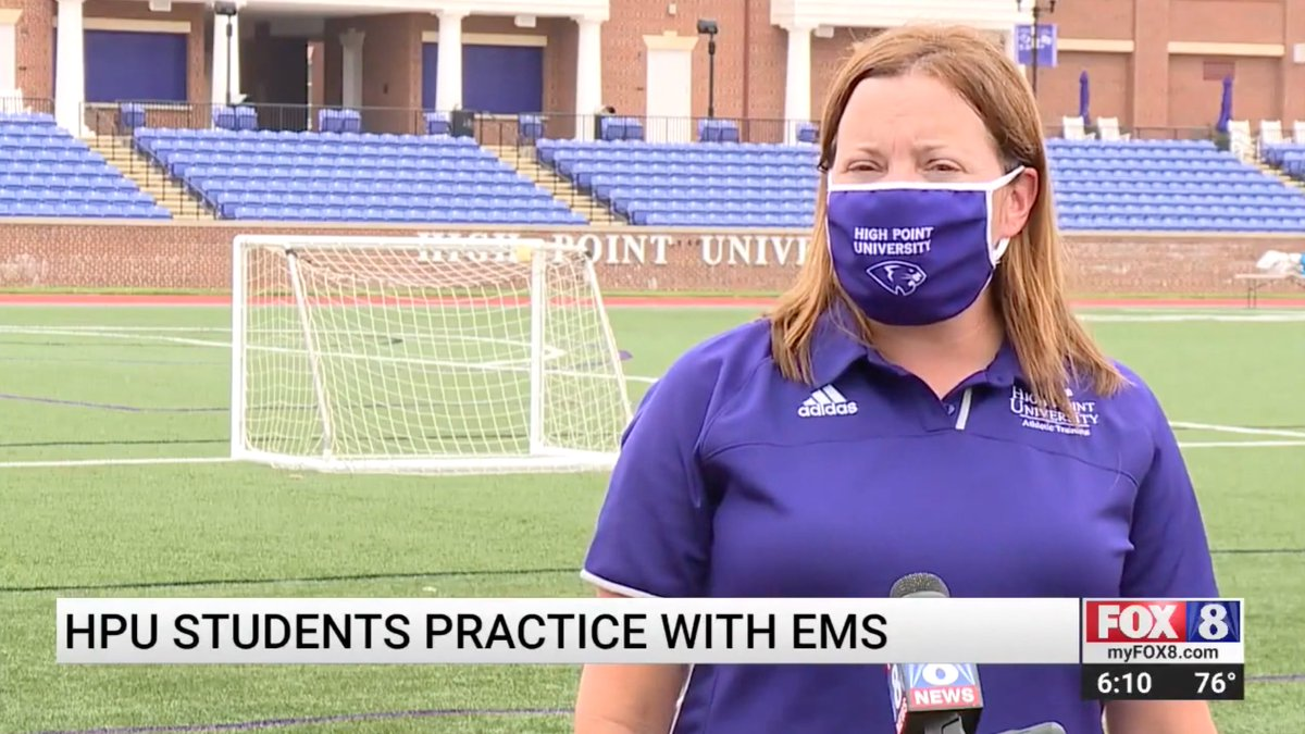 .@HpuMsat recently partnered with Guilford County EMS for hands-on learning to treat athletes who go into cardiac arrest on the sports field. The graduate students used a high fidelity mannequin to simulate administering care. 💜 #HPU365