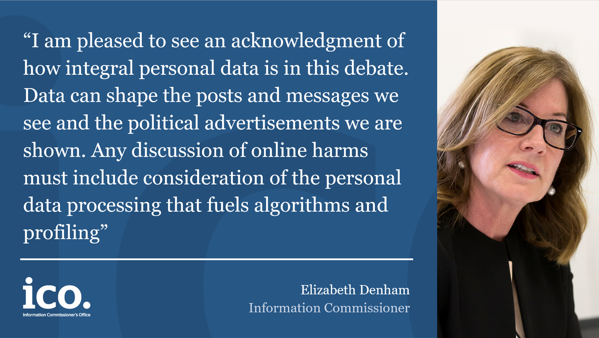 Elizabeth Denham, Information Commissioner has commented on Lord's Committee report, 'Digital Technology and the Resurrection of Trust'. You can read our statement here: ow.ly/UyI250AuYYd You can read the report here: ow.ly/uMNK50AuZuf