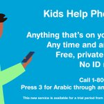 Image for the Tweet beginning: .@KidsHelpPhone is offering Arabic-speaking professional
