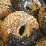 Rise & Shine!! It's gonna be a Sunny Friday! 3 Solly's Shops are Open! 'Black and Whites' are our July Bagel of the Month! Door Dash Uber Walk in Take Out Eat in and just BE HAPPY!!