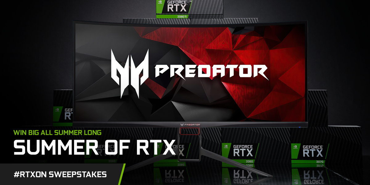 This Acer Predator x34 curved  is up for grabs in our Summer of #RTXOn sweepstakes.  Want it?! Reply with a picture of the first game that blew you away for a chance to win.   Don't forget to Like + RT + tag 3 friends on any post from Summer of RTX for an entry! <br>http://pic.twitter.com/IY4OV2NEOH