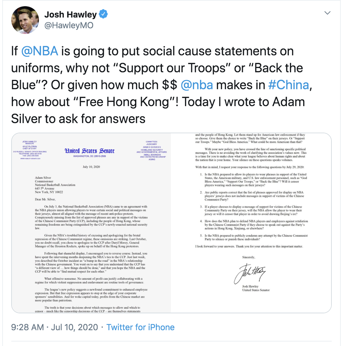 a quick scan of Hawley's TL shows no mention of Russian bounties being put on our troops, and  the NBA is a private company - Rs scream all the time that there should be no regs on what private companies can/can't do.   being racist is literally the only thing these people have. https://t.co/4shjVfhfHs