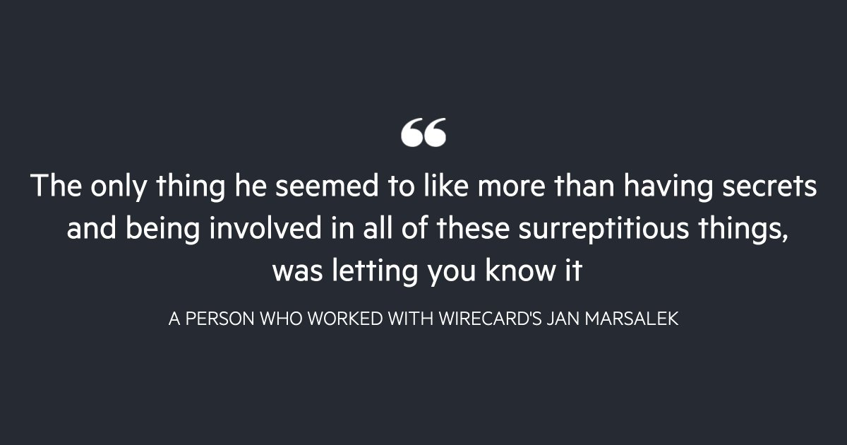 Wirecard's Jan Marsalek did not stay quiet about his exploits — from bragging about his adventures with the Russian military in Syria to disclosing to traders he had a dossier of analysis about the Russian plot to assassinate ex-spy Sergei Skripal   https://t.co/pYMpZp5GKM https://t.co/MnBVglmn4U