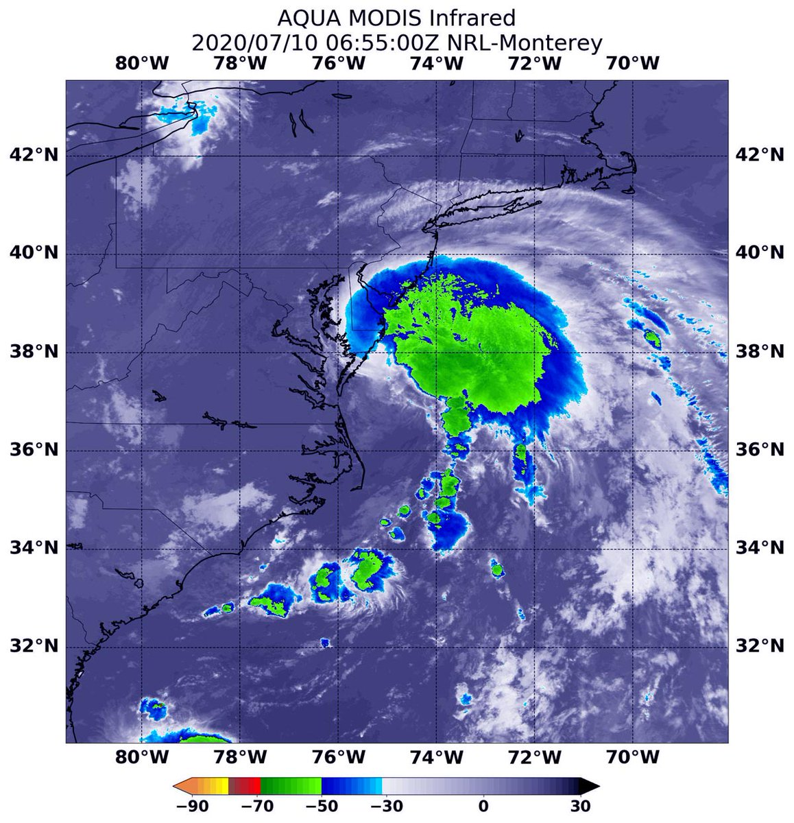 NASA Tracks Tropical Storm #Fay Fay's Development and Strongest Side NASA used satellite data to create an animation of Fay's development and progression over the past few days, showing how the storm organized into a tropical storm.  https://blogs.nasa.gov/hurricanes/tag/fay-2020/ …pic.twitter.com/r5KukQksRv