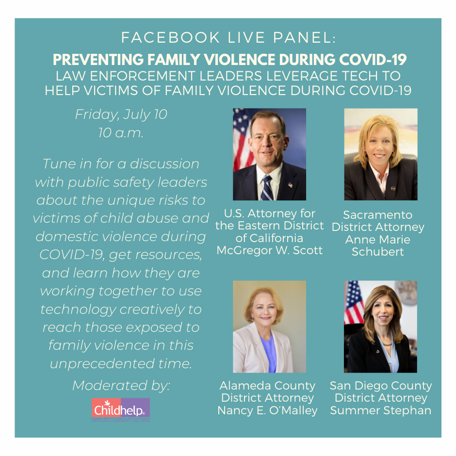 Today, July 10, at 10:00am PT, @Childhelp will moderate a discussion about family violence during COVID-19.  Live-stream the panel at: https://t.co/W6sw0BrzqM @SDDistAtty @SacCountyDA https://t.co/SFf44zk7OZ