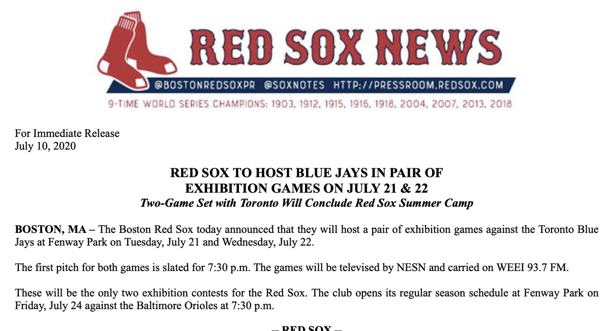 #RedSox announce a pair of exhibition games against the Blue Jays at Fenway Park on July 21 and 22 at 7:30 pm prior to season opener July 24 vs. Orioles at Fenway.