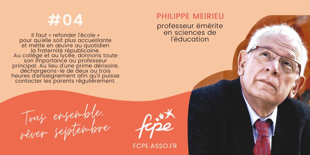 test Twitter Media - 10 personnalités = 10 idées pour bousculer la #RENTREE2020 ! Le pédagogue @PhilippeMeirieu a toujours mis en lumière l'importance des relations entre les familles et l'école. Il livre à la FCPE quelques idées concrètes et faciles à mettre en œuvre. https://t.co/9omNR0NYiA https://t.co/FG74buhGFW