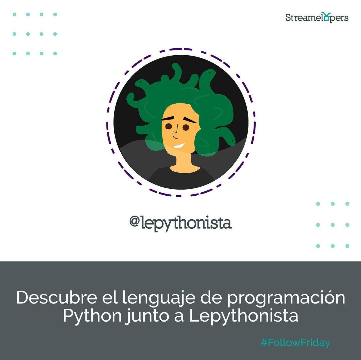 ¡Aprender un nuevo idioma es emocionante y, a veces, frustrante! Acompaña a @lepythonista en su camino como python developer. #followfriday #programmerlife #follow #python #programacion #programmers #pythonlearning #pythonprogramming #pythoncode http://dlvr.it/RbM17rpic.twitter.com/bJKzBsr9BG