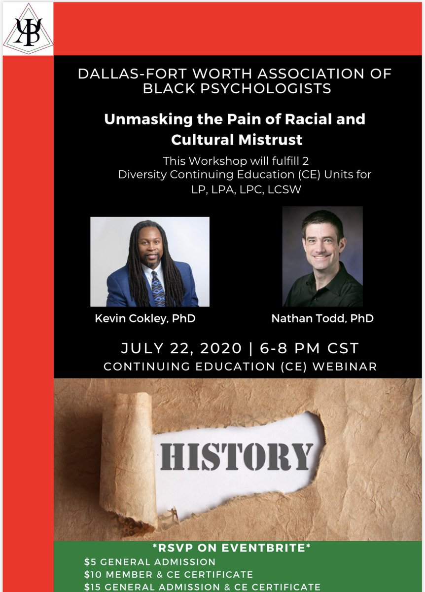 July 22nd our Dallas-Fort Worth chapter is offering a CE on Unmasking the pain of Racism and Cultural Mistrust. This is something that has ALWAYS been and is presently relevant today and something you do not want to miss. Join us 7/22 from 6-8PM! https://t.co/8Rix57XCcp