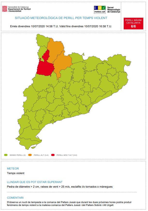S'observa un nou nucli de tempesta a la comarca del Pallars Jussà que durant les dues pròximes hores podria produir fenòmens de temps violent a la mateixa comarca del Pallars Jussà i a la del Pallars Sobirà i Alt Urgell. https://t.co/oh26cKvbNc