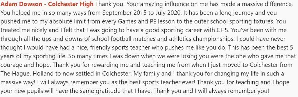 Why would you want to be a teacher? Hopefully, this shows you it is more than a career. Look after him @CRGSSport, you've got a superstar in the making here. @ColchesterHigh  @chslowerschool1 #wellbeing #CognitaWay pic.twitter.com/KxsF0Y3TrF