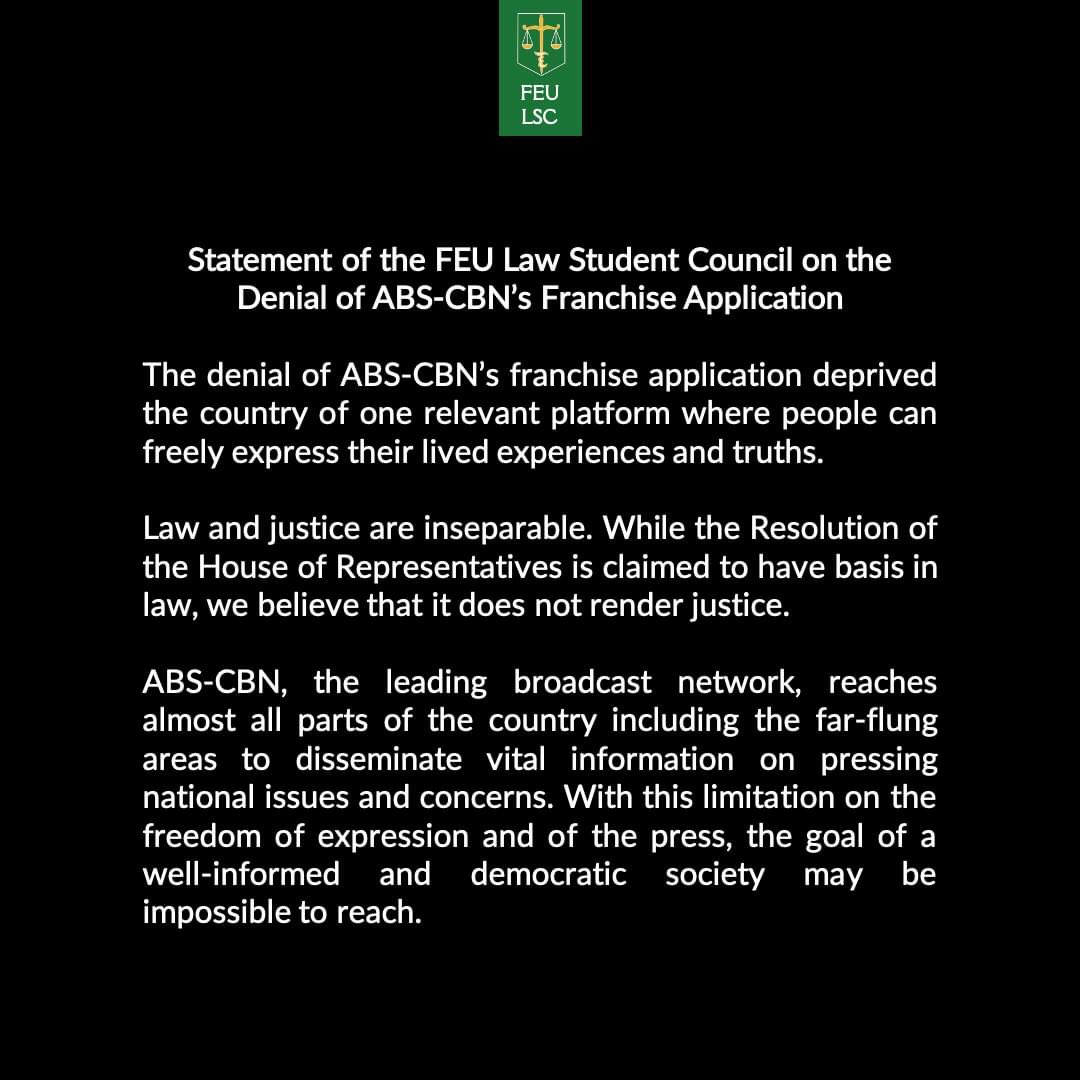 Aside from the FEU Department of Communication, the FEU Law Student Council and Professors and the FEU Central Student Council Organization have also released official statements re the denial of ABS-CBN franchise application. #DefendPressFeedom #DefendDemocracy #IbalikAngABSCBNpic.twitter.com/EE7VHe2bUm