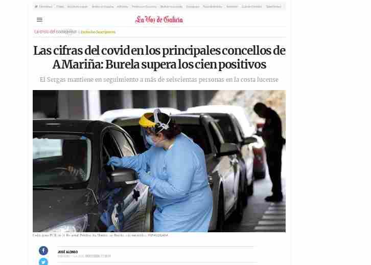 Via @lavozdegalicia  Seguimento d contactos e as probas expoñen a #Burela como foco principal da epidemia As autoridades sanitarias galegas impoñen un cordón sanitario a Burela: ninguén entra, ninguén sae  mentres a rexión de A Mariña permanece en corentena