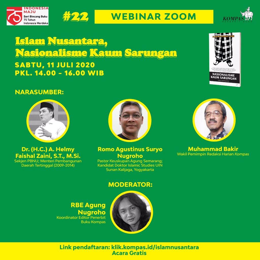 """Besok ikut diskusi ini yuk:  """"Islam Nusantara, Nasionalisme Kaum Sarungan""""  @NUgarislucu https://t.co/HqPlDl04N1"""