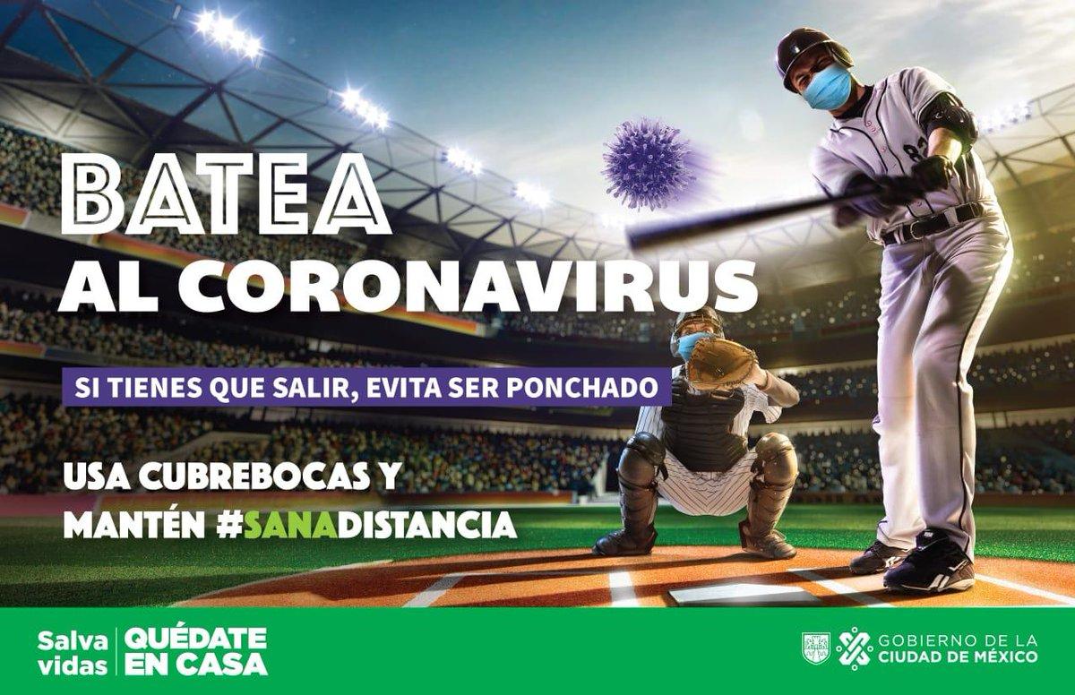 #MovilidadCDMX Batea al Coronavirus 🦠, evita ser ponchado ⚾️  #QuédateEnCasa #SalvaVidas ❤️❤️ https://t.co/C4u7rEI8fj