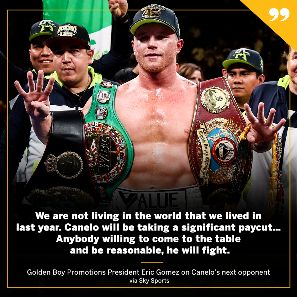 """Golden Boy expects @Canelo and his next opponent to take """"significant"""" pay cuts. https://t.co/zgxBtyKMtU"""