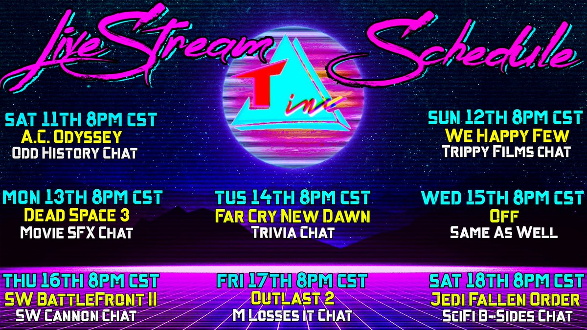 Here's our #livestream Schedule for Sat 11th - Sat 18th starting tomorrow @ 8pm CST! http://youtube.com/SIMMERMIKE @CreepySexyNerdy @simmermike #games #Chat #adventure #horror #GamingDoesGood #StayHome #peace #gaming #gamers #SmallStreamersCommunity #smallyoutuber #smallstreamer #livepic.twitter.com/n3WqnPn6BW