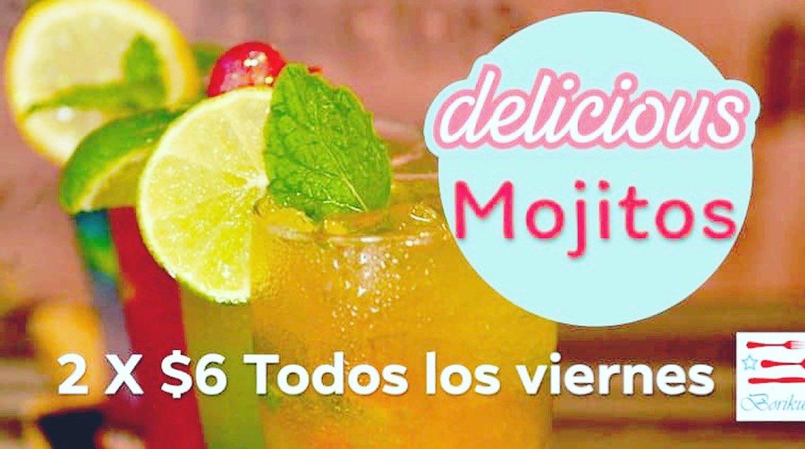 ¡Al fin viernes y de Mojitos 2 x $6!! Solo en @Borikuasbistro. Combínalo con 'Mis Días Borikuas' o el menú a la carta. #Mojitos #viernes #MisDíasBorikuas #PlazadelNorte #Hatillo #findesemana pic.twitter.com/eTykKJfKcY