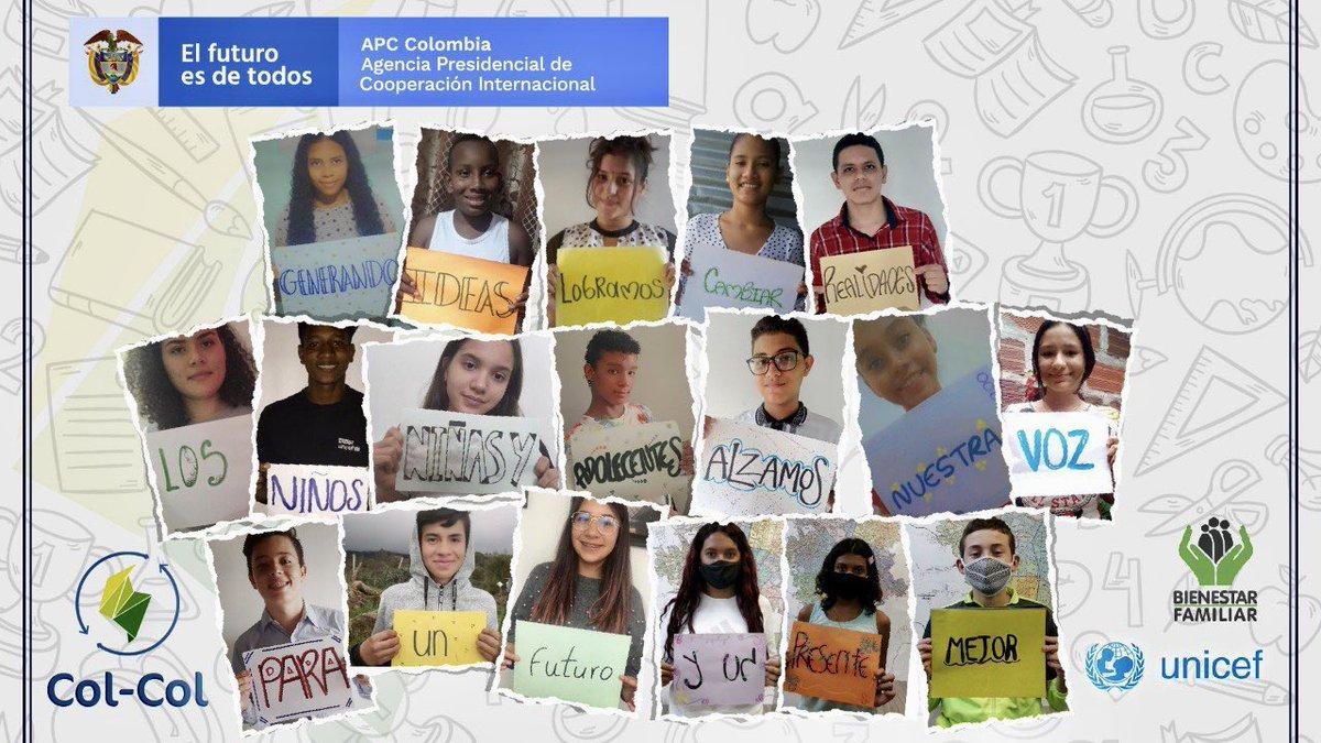 Cerramos la semana con el mensaje que nos dejan los niños, niñas y adolescentes que participaron esta semana del intercambio #SinViolenciasContraLaNiñezColCol organizado por @APCColombia @ICBFColombia @UNICEFColombia Ellos alzaron sus voces y esto tienen para decirnos 👶 🧒 https://t.co/OQHLZeIKmX
