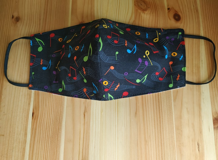 #Musical #notes #mask #FaceMask #MusicMask #Music #Notes #print #Cotton #Washable #triple #Layers #Pocket for #Filter #elastic ear loops  @Etsy