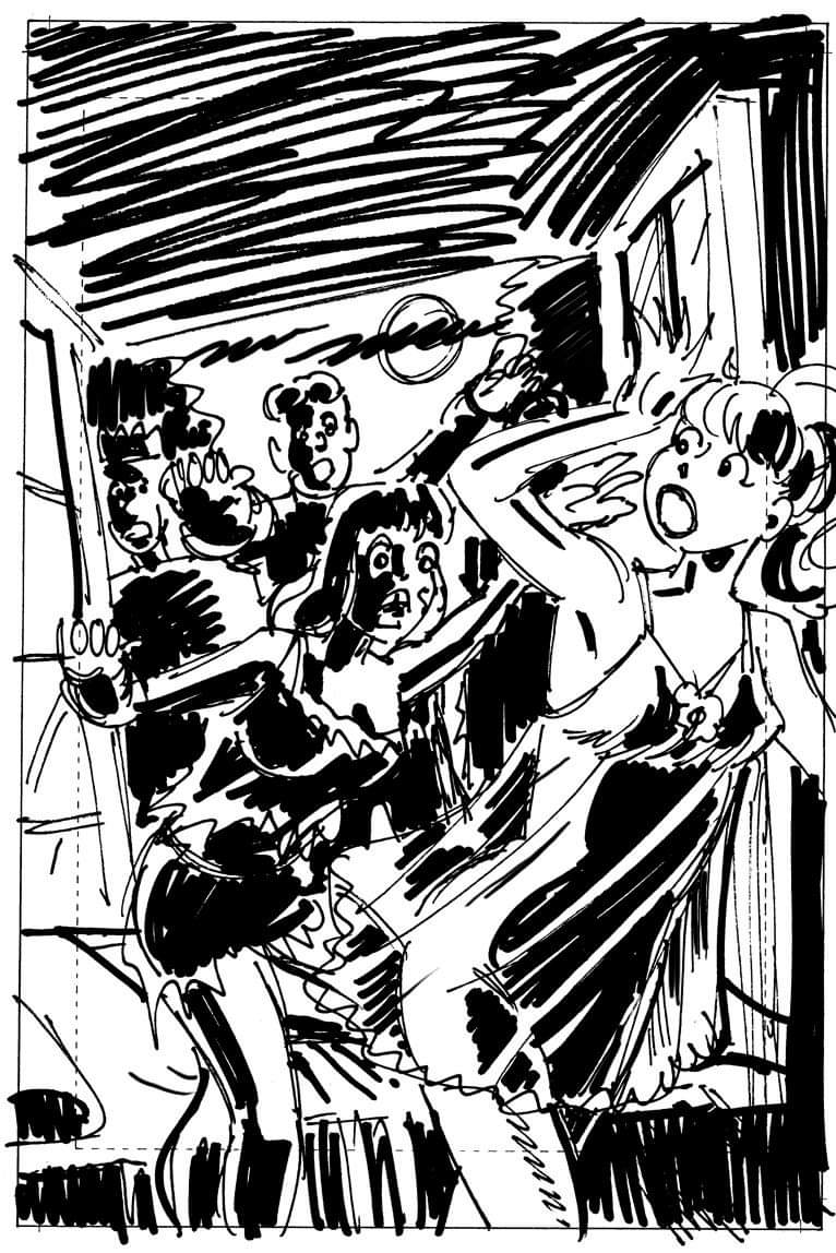 Here's a rough cover sketch I did for #AfterlifeWithArchie #1, a variation on what was eventually chosen. @ArchieComics #archiecomics #comics #andrewpepoy #archie #riverdale #bettyandveronica #zombie #zombies #bettycooper #veronicalodge #jugheadpic.twitter.com/b2JQHLJglL
