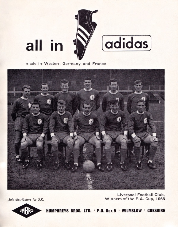 Liverpool players in an @Adidas advert in 1965. No wonder Scousers love the mark with the 3 stripes. #Champions  #adidasfootball @Highland__paddy @AnfieldUrchin https://t.co/Jr5Dn4Mt8Q