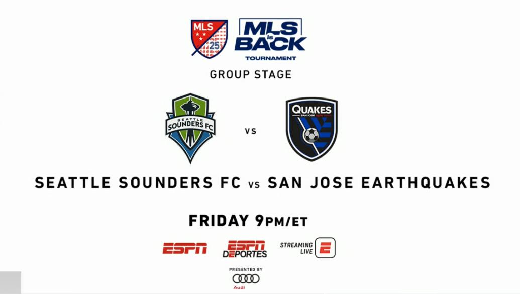 #MLSIsBack on ESPN tonight -9p ET. The reigning @MLS Cup champion Sounders open play in Orlando against San Jose. #SEAvSJ 🎙️ ESPN - @JonChampionJC & @TaylorTwellman 🎙️ ESPN Deportes - @mauriciopedroza & @herculezg