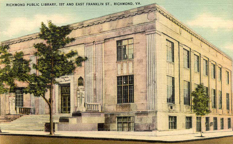Postcard showing the Richmond Public Library, 1st and East Franklin St., Richmond, VA.