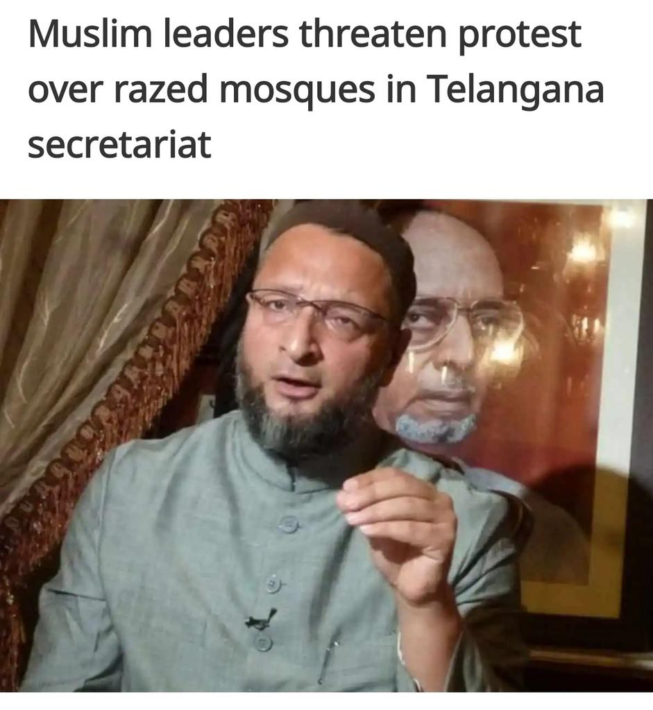 #Hyderabad: #AIMIM president #AsaduddinOwaisi, religious scholars and leaders of various Muslim organizations have condemned the demolition of two mosques in the premises of the old secretariat in #Hyderabad and demanded their immediate reconstruction.pic.twitter.com/BhulZTzK8b