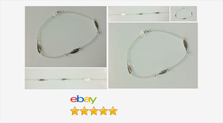 "Brand New 925 Sterling Silver 10"" 2mm wide feather anklet 