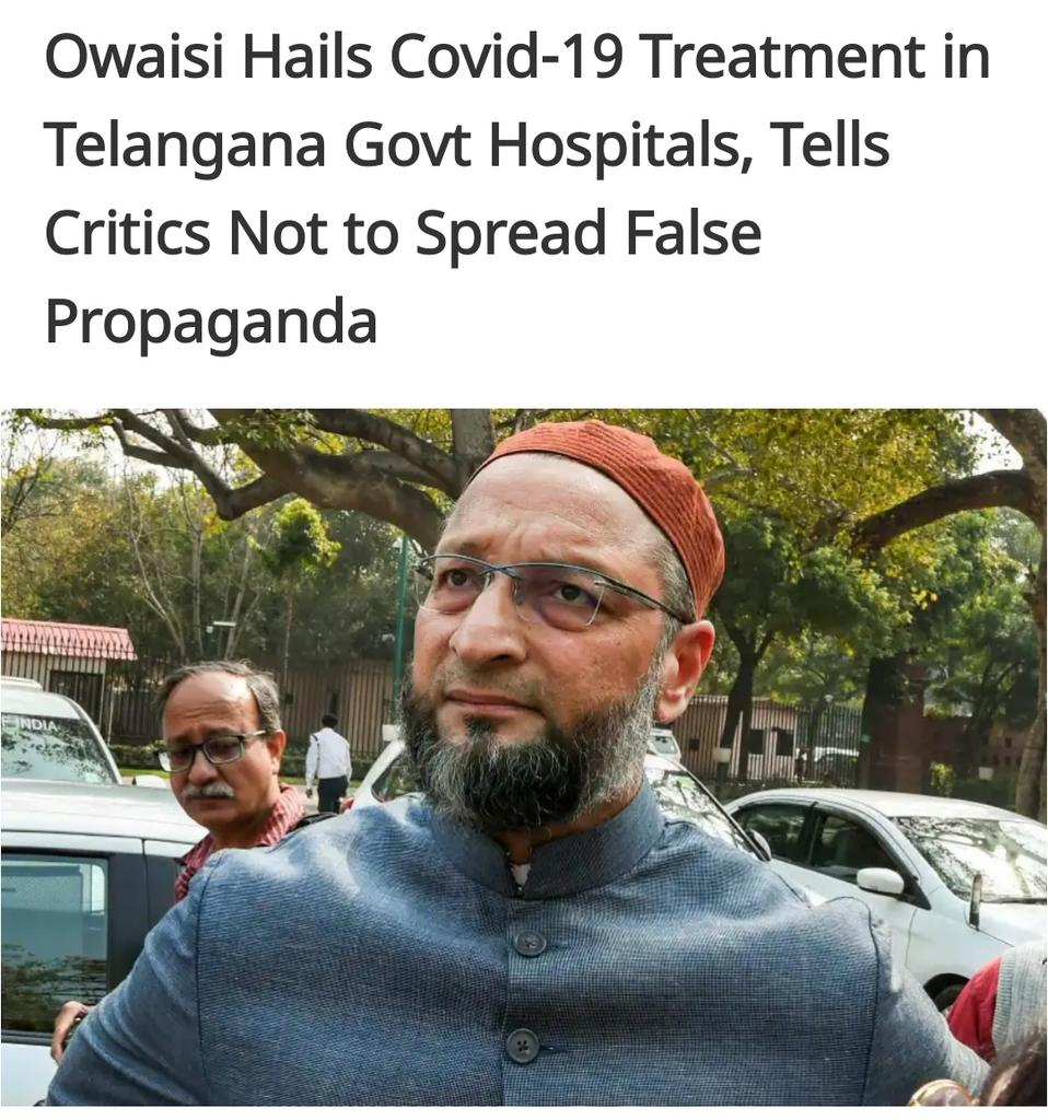 """Giving a thumbs up to the treatment being given to #COVID__19 patients in Telangana government hospitals, #AIMIM Chief #AsaduddinOwaisi has appealed to the public not to fall prey to """"false propaganda"""" by people with political motives. pic.twitter.com/TdaRXwRSfh"""