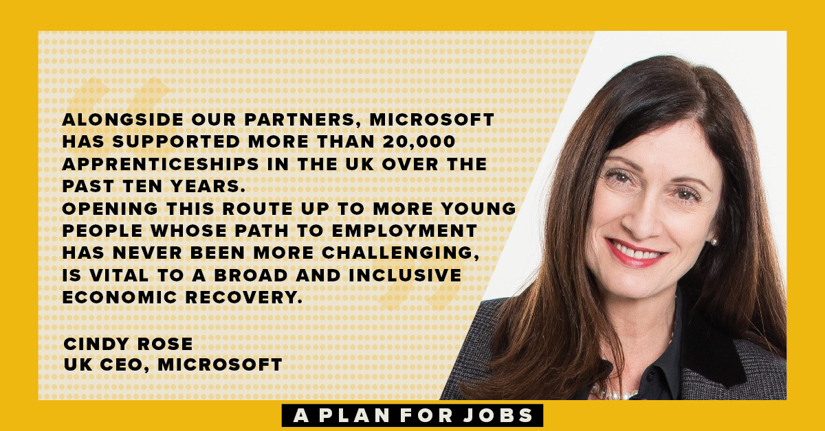 """The announcement from the Chancellor is both welcome and necessary."" @CindyRose, UK CEO, @Microsoft #PlanForJobs https://t.co/v4YPyVPQPr"